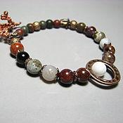 Украшения handmade. Livemaster - original item Picasso Jasper bracelet, oceanic, red and copper