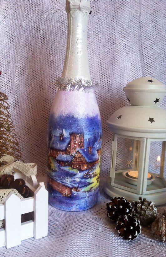 Подарочное оформление бутылок ручной работы. Ярмарка Мастеров - ручная работа. Купить Новогоднее шампанское. Handmade. Тёмно-синий