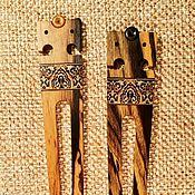Шпилька для волос из черного (лунного дерева Славянская с инкрустацией