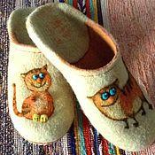 """Обувь ручной работы. Ярмарка Мастеров - ручная работа Тапочки  """"Котейки-4"""". Handmade."""