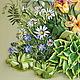 Картина `Летний полдень`. Вышивка лентами. Украшение интерьера. Ботанический стиль.Фрагмент