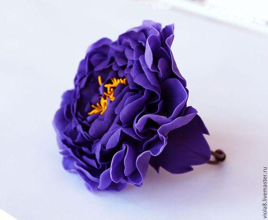 фиолетовый браслет,браслет цветок,браслет с цветами,крупный браслет,браслет фиолетовый,цветы из полимерной глины,фиолетовый цветок,украшение на руку,.Цветы и украшения Зарифы Пироговой