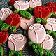 """Кулинарные сувениры ручной работы.\r\nПряники цветы """"Розы"""" розовые, красные.\r\nПодарок женщине, девушке.\r\nКОЗУЛИ ИЗ АРХАНГЕЛЬСКА. Ярмарка Мастеров."""