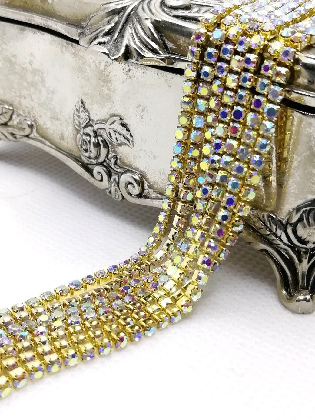 Cinta de diamantes de imitación AB 2 mm En oro, Chains, St. Petersburg,  Фото №1