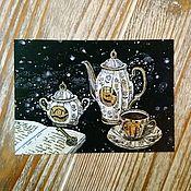 Открытки ручной работы. Ярмарка Мастеров - ручная работа Космическое чаепитие. Handmade.