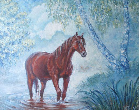 """Животные ручной работы. Ярмарка Мастеров - ручная работа. Купить """"Туманное утро"""". Handmade. Комбинированный, лошадь в реке"""