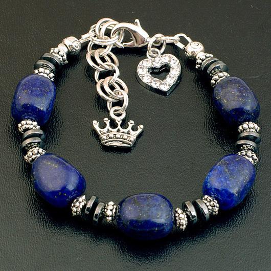 Синий браслет из лазурита и гематита с подвеской корона сердце кристаллы оригинальный подарок мужу подруге сестре брату другу лазурит комплект