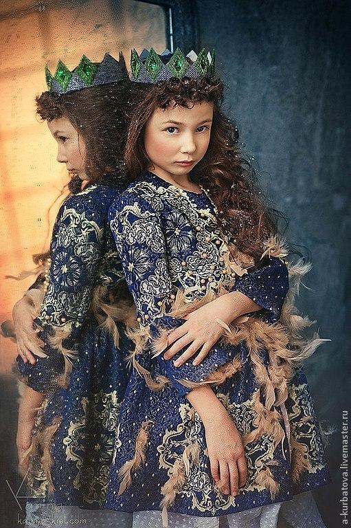 Карнавальные костюмы ручной работы. Ярмарка Мастеров - ручная работа. Купить Комплект для девочки.. Handmade. Тёмно-синий, жаккардовая ткань