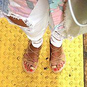 """Обувь ручной работы. Ярмарка Мастеров - ручная работа Кожаные сандалии """"Спартанские"""" с пальчиком. Handmade."""