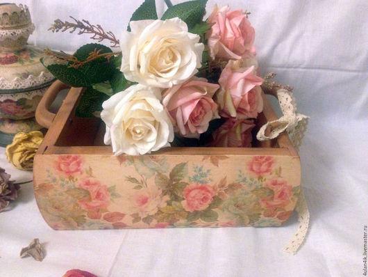 """Корзины, коробы ручной работы. Ярмарка Мастеров - ручная работа. Купить Короб """"Бабушкины розы"""". Handmade. Розовый, короб для кухни"""