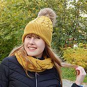 Аксессуары ручной работы. Ярмарка Мастеров - ручная работа Комплект шапка и снуд в два оборота. Handmade.