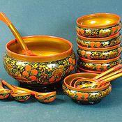 """Посуда ручной работы. Ярмарка Мастеров - ручная работа Набор """"Хохлома"""" для ягод. Handmade."""