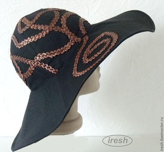 """Шляпы ручной работы. Ярмарка Мастеров - ручная работа. Купить Шляпа """"Магия ночи"""" (лён). Handmade. Черный, большие поля"""