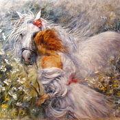 Картины и панно handmade. Livemaster - original item Pattern from wool Girl with white horse. Handmade.