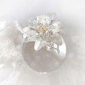 Украшения handmade. Livemaster - original item Little white brooch snow White flower with natural pearls. Handmade.