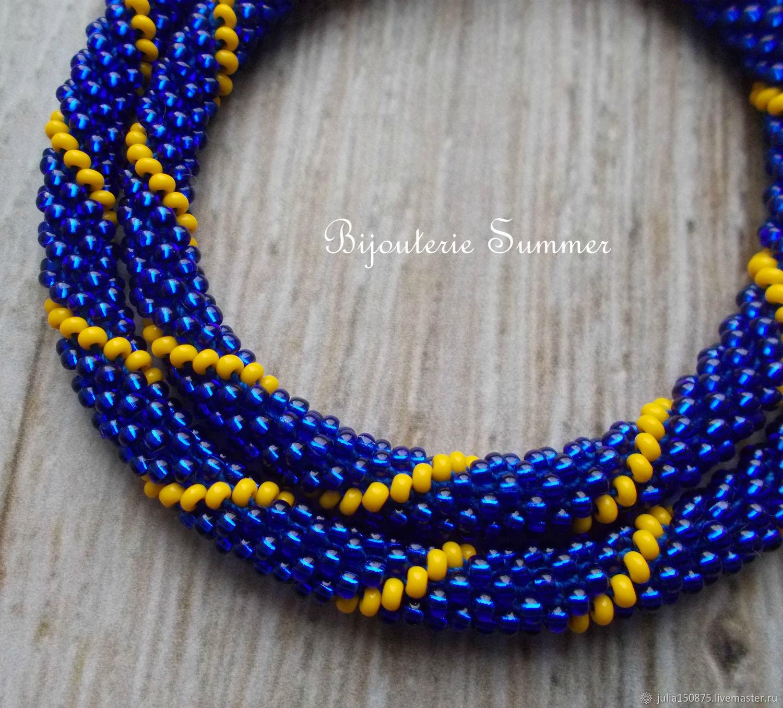 0b23fb0cd23de Necklaces & Beads handmade. Livemaster - handmade. Buy Blue-yellow bead  harness, ...