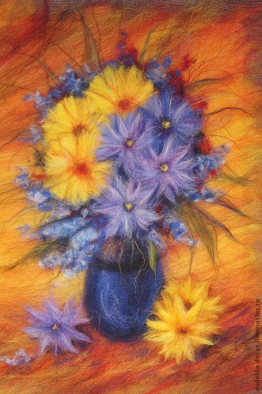Картины цветов ручной работы. Ярмарка Мастеров - ручная работа. Купить картина из шерсти.цветы в синей вазе. Handmade. Картина