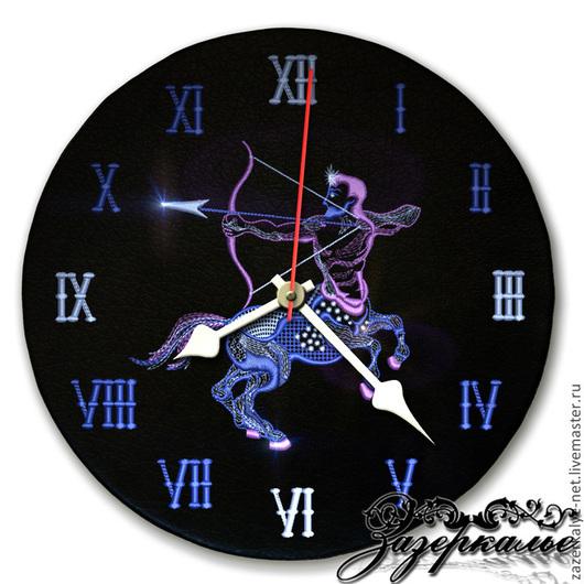 """Часы для дома ручной работы. Ярмарка Мастеров - ручная работа. Купить Часы из натуральной кожи """"Стрелец"""". Handmade. Часы интерьерные"""