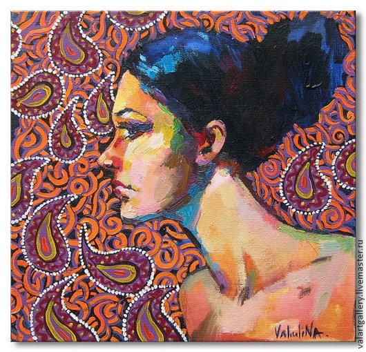 Люди, ручной работы. Ярмарка Мастеров - ручная работа. Купить портрет девушки . профиль . картина акрилом и маслом. Handmade. Рыжий