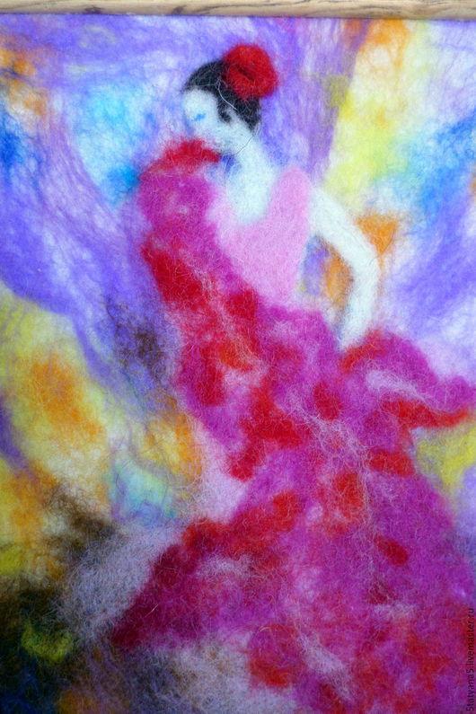 Люди, ручной работы. Ярмарка Мастеров - ручная работа. Купить шерстяная акварель Фламенко. Handmade. Комбинированный, картина для интерьера, фламенко