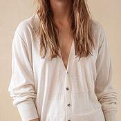 Одежда handmade. Livemaster - original item Button-down cashmere and silk cardigan. Handmade.