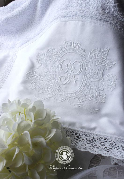"""Крестильные принадлежности ручной работы. Ярмарка Мастеров - ручная работа. Купить Крестильное полотенце """"Ангелы. Монограмма"""". Handmade. Белый"""
