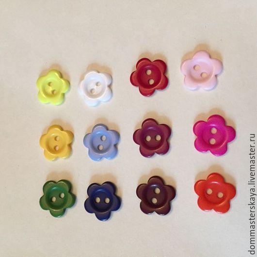 Шитье ручной работы. Ярмарка Мастеров - ручная работа. Купить Пуговицы пластиковые, цветочек 15 мм. Handmade. Пуговица