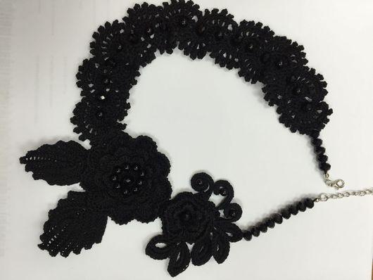 Воротнички ручной работы. Ярмарка Мастеров - ручная работа. Купить Воротник черный выполненный в технике ирландское кружево. Handmade.