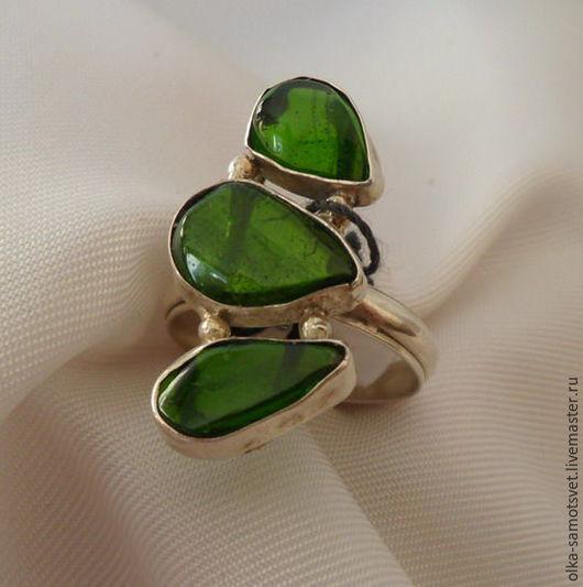 Кольца ручной работы. Ярмарка Мастеров - ручная работа. Купить Кольцо хромдиопсид Трио. Handmade. Зеленый, кольцо с камнем, подарок