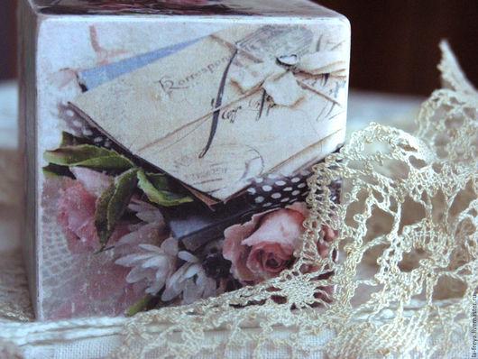 Персональные подарки ручной работы. Ярмарка Мастеров - ручная работа. Купить Шебби - Шик - интерьерный кубик. Handmade. уютный подарок