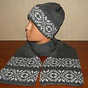 Аксессуары handmade. Livemaster - original item Knitted set - hat lapel and scarf with Norwegian onamental. Handmade.