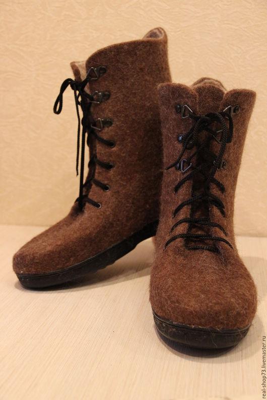 Обувь ручной работы. Ярмарка Мастеров - ручная работа. Купить Валяные ботинки Для него. Handmade. Коричневый, мужские ботинки