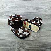 Работы для детей, handmade. Livemaster - original item Plush knitted boots for the street, 13 cm on the foot, children`s shoes. Handmade.