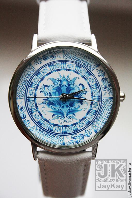 """Часы ручной работы. Ярмарка Мастеров - ручная работа. Купить Часы наручные JK """"Гжель"""". Handmade. Часы наручные"""