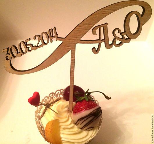 Свадебные аксессуары ручной работы. Ярмарка Мастеров - ручная работа. Купить Топпер для торта с инициалами и датой. Handmade. Youmakeart, топпер