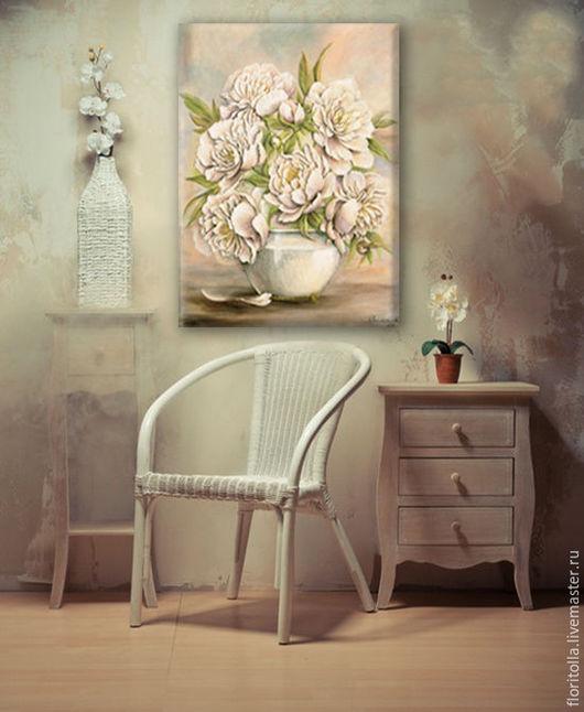 """Картины цветов ручной работы. Ярмарка Мастеров - ручная работа. Купить Барельеф -картина """"Пионы в белой вазе"""". Handmade. Сиреневый"""