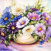 Картины и панно ручной работы. Ярмарка Мастеров - ручная работа Астры в вазе картины цветов сиреневый букет. Handmade.