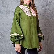 handmade. Livemaster - original item Linen tunic (forest green small roses). Handmade.