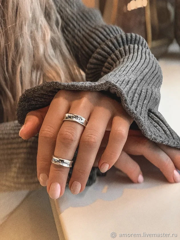 Midfinger rings set From small to great, Midi rings, Sterling silver, Phalanx ring, Moscow,  Фото №1