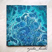 """Картины ручной работы. Ярмарка Мастеров - ручная работа Картина """"В морской глубине"""" в технике Fluid Art. Handmade."""
