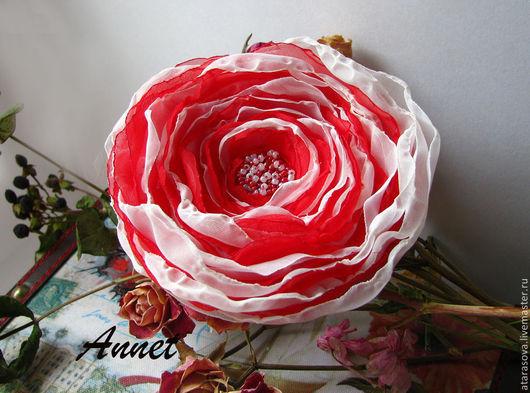 Броши ручной работы. Ярмарка Мастеров - ручная работа. Купить Брошь Красный цветок. Handmade. Ярко-красный, красная брошь