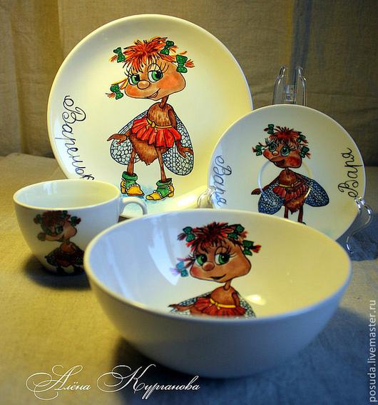 """Сервизы, чайные пары ручной работы. Ярмарка Мастеров - ручная работа. Купить Набор детской посуды """"Муха-цокотуха"""". Handmade."""