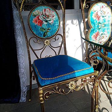 """Мебель ручной работы. Ярмарка Мастеров - ручная работа Стулья: Кованый стул """"Shebee rose"""" с мягким изголовьем. Handmade."""