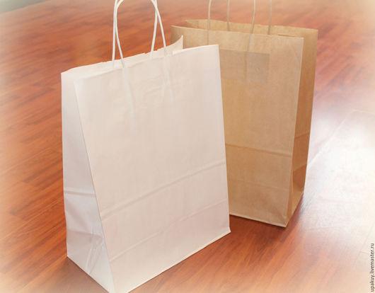 Упаковка ручной работы. Ярмарка Мастеров - ручная работа. Купить Крафт пакет белый с ручками 26x15x35 см.. Handmade.