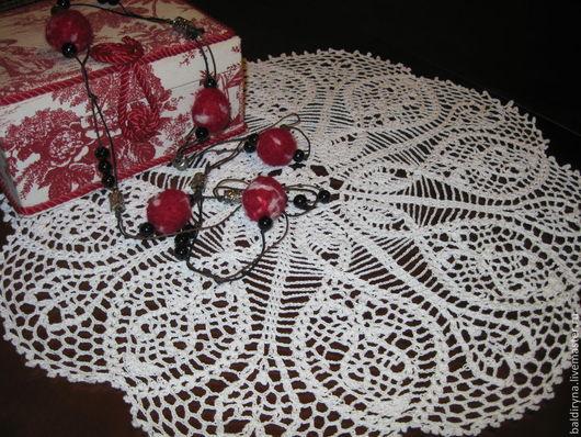 Текстиль, ковры ручной работы. Ярмарка Мастеров - ручная работа. Купить Салфетка крючком круглая большая ажурная Нежность (№ 103). Handmade.