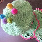 """Работы для детей, handmade. Livemaster - original item БЕРЕТ и ШАРФИК  """"Весеннее настроение"""" вязаный комплект для девочки. Handmade."""