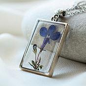 Украшения handmade. Livemaster - original item Transparent pendant made of epoxy resin with a lively blue flower is Lobelia.. Handmade.