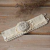 Украшения ручной работы. Ярмарка Мастеров - ручная работа Текстильный браслет из льна в стиле бохо браслет из ткани. Handmade.