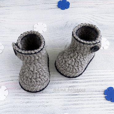 Footwear handmade. Livemaster - original item Knitted booties for newborn baby boy, warm boots grey. Handmade.