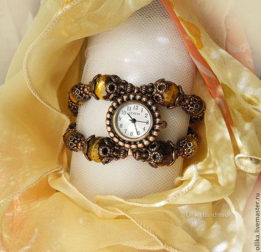 Часы женские на руку Прирученный Тигр браслет с камнями, часы на мемори проволоке, браслет из камней, женские часы, браслет с тигровым глазом, широкий браслет часы, браслет и серьги, необычные наручные часы, подарок любимой подруге, купить женский браслет, часы браслет фото, СЕРЬГИ В ПОДАРОК, ПОДАРОК ПРИ ПОКУПКЕ, комплект украшений купить, часы-браслет, часы наручные, часы на руку, часы женские на руку, ollika handmade, ollika ольга дмитриева ЧАСЫ В НАЛИЧИИ